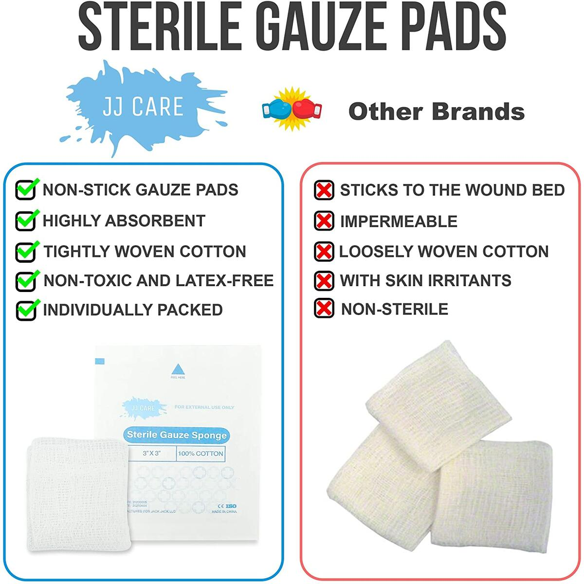 [Box of 100] 3x3 Sterile Gauze Pads 12-Ply Cotton Gauze Pads 3x3, 100% Woven Gauze Sponges, Individually-Wrapped Sterile Gauze Sponges, Non-Stick Gauze Pads for First Aid Kit and Wound Care