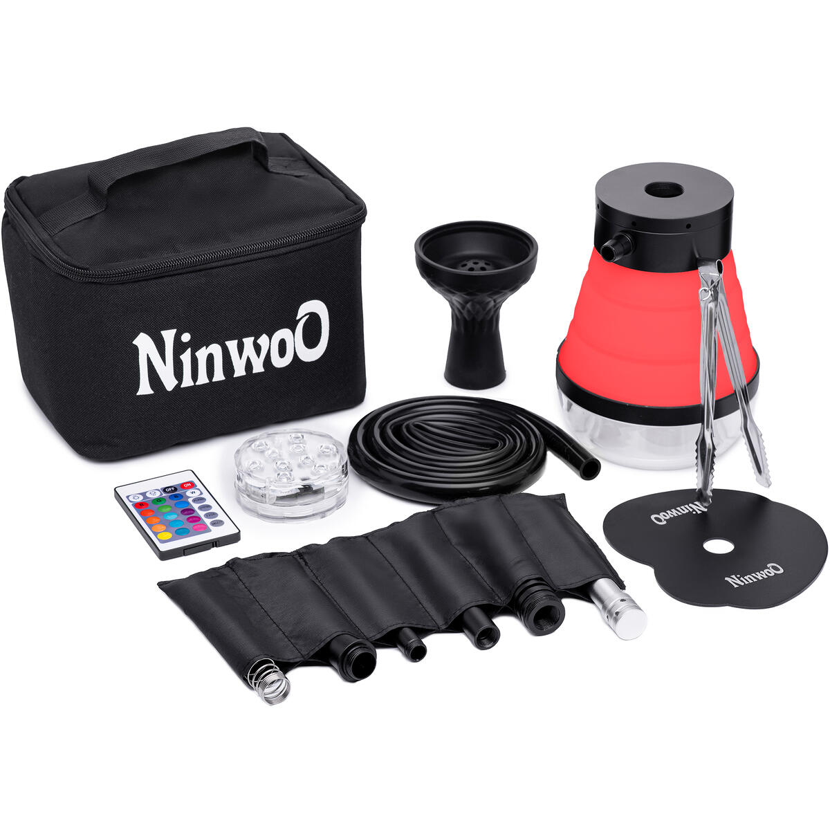 Hookah Set – Premium NinwoO Portable Hookah with Protective Bag Case – Best Travel Shisha with LED Light Remote Controller and Stable Adjustable Vase - Better Filtration with Diffuser - Red