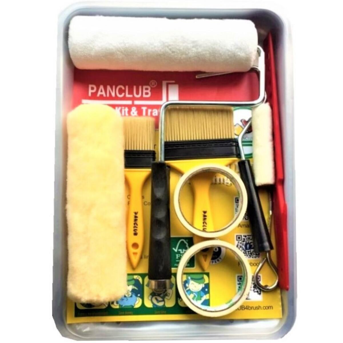 PANCLUB Paint Roller Kit I for DIY I Metal Paint Tray 12 Piece Paint Roller Set I Roller Cover Set, 2 Liner, S Chip Paint Brush, Painter's Tape, Paint Stick, Paint Can Opener