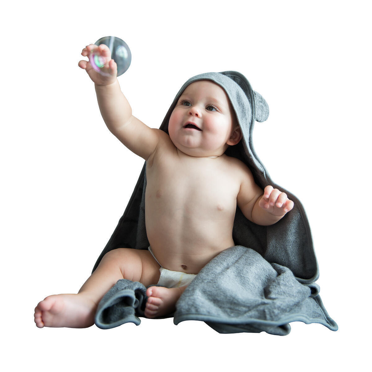 Grey Bamboo Baby Hooded  Towel - DO NOT CLIP COUPON