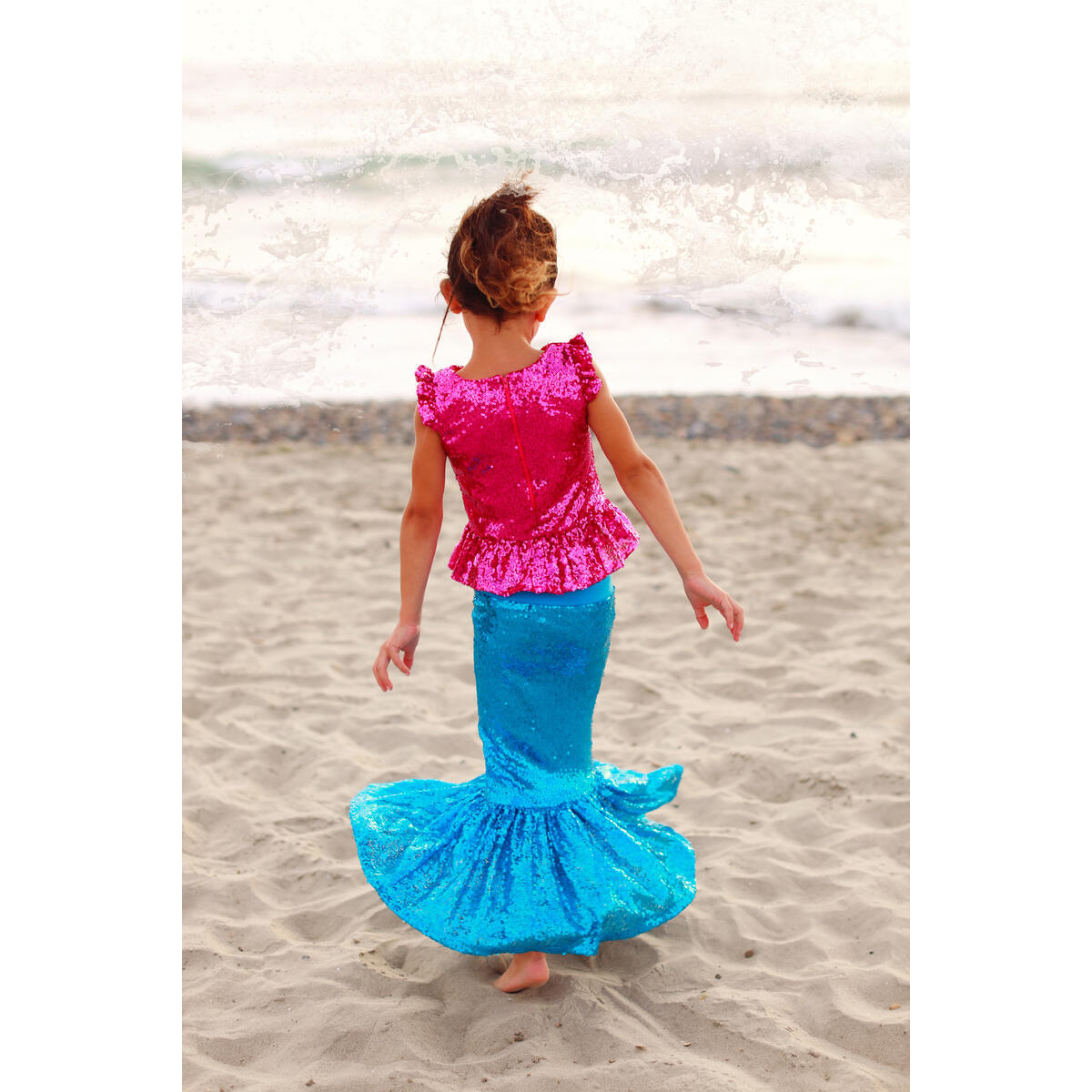 Toddler Girl's Mermaid Costume for Birthday Party, Dress up Play and Halloween - Hot Pink Top W/ Deep Blue Skirt L (5-6 Years)