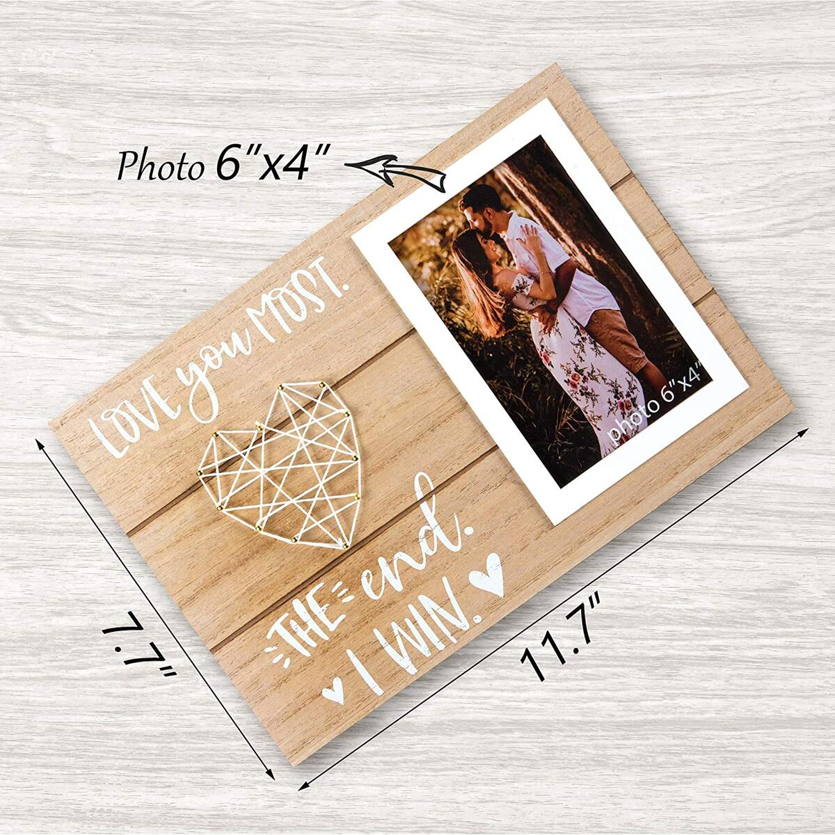 Boyfriend and Girlfriend Anniversary, Birthday, Romantic Couple Gift - Love You Most. The End. I Win. - Couples, Husband, Wife, or Fiance Romantic Love Picture Frame Gifts - 4x6 Inches Cute Photo