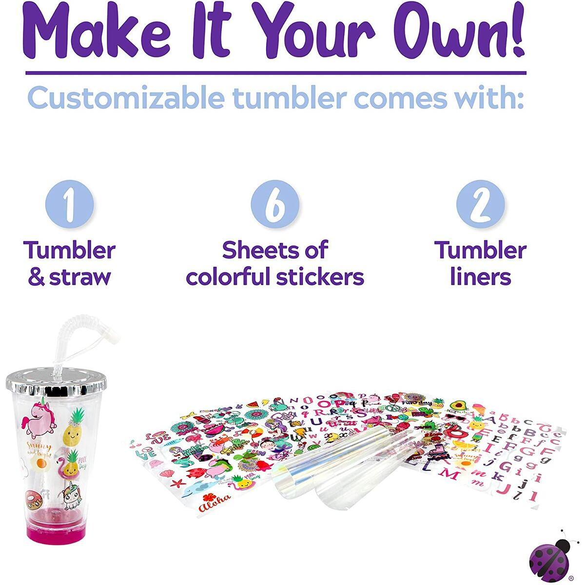 Purple Ladybug Create Your Own Personalized Tumbler for Girls with Cute Tumbler Stickers! BPA Free Kids Tumbler with Lid & Straw - Great Gift Idea for Girl, Fun DIY Arts and Crafts Kit for Children!