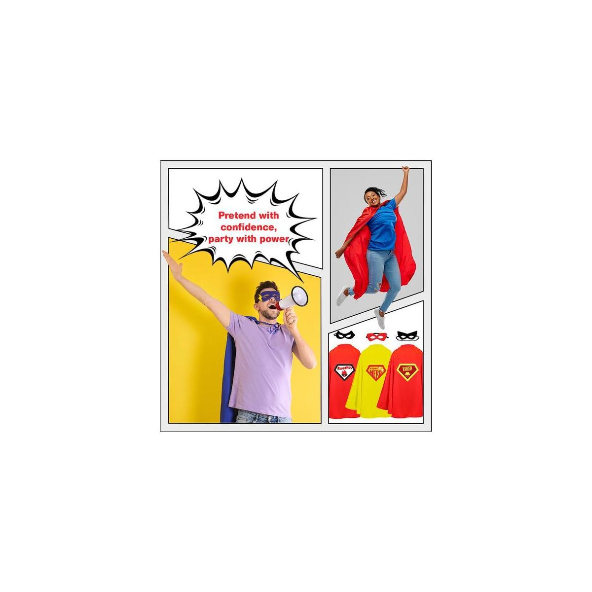 STOIE'S Adult Superhero Capes and Masks, 8-Piece Set - Dress-Up Kit for Parties, Halloween and Themed Events - Versatile Group Costume, Comfortable Design Materials