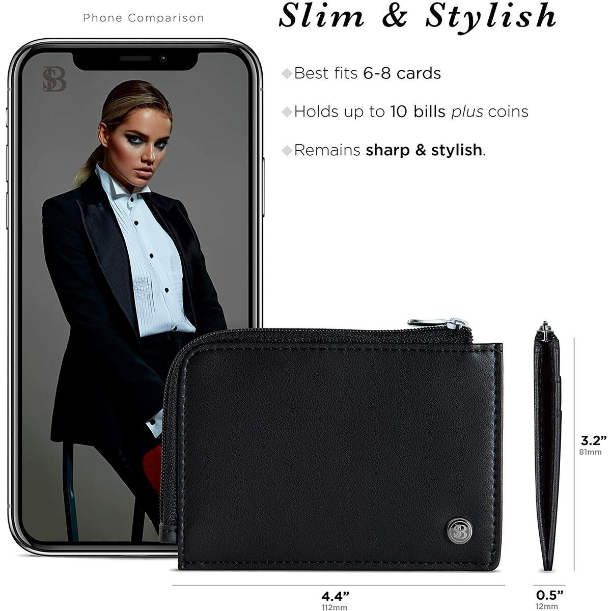 Small Wallets for Women. Slim Wallet for Women with Coin Purse and Credit Card Holder. RFID Wallet Women Vegan Leather Wallet - Midnight Black