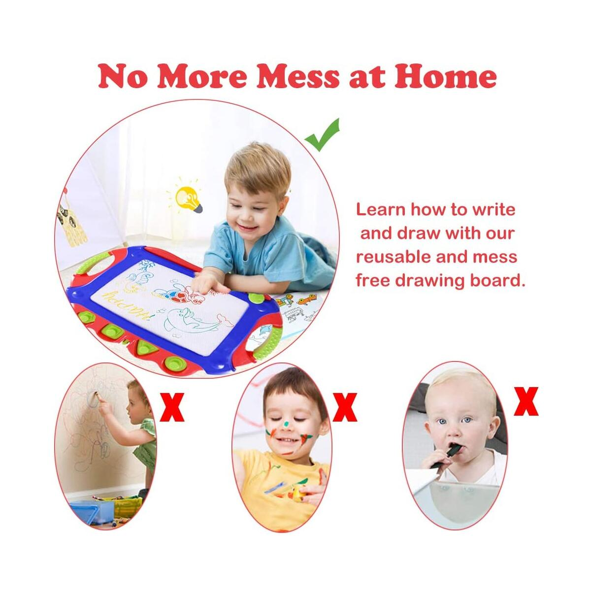 WISHTIME Magnetic Drawing Board for Kids - Large Doodle Board 17.3 Inch Erasable Magnet Writing Sketching Pad 4-Color Travel Size with Stamps and Stencils for Kids Toddlers(Red-Blue)…