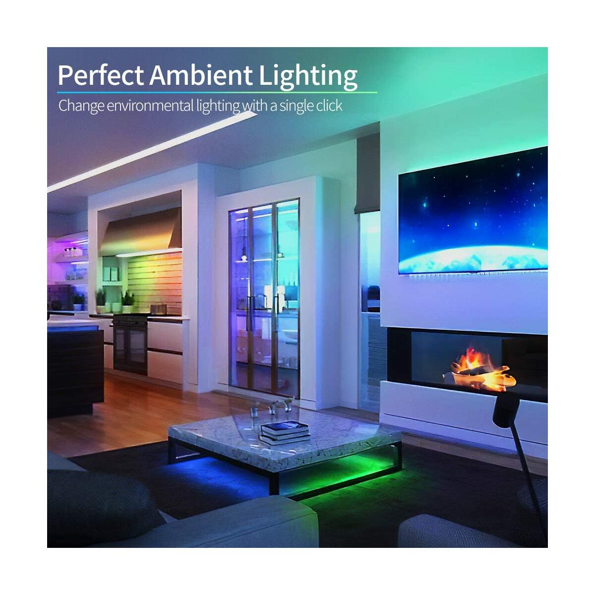 Gupup LED Strip Lights, 32.8ft Flexible LED Color Changing Strip Lights SMD 5050 12V LED Tape Light with IR Remote Controller, DIY Colors for TV Backlight Kitchen Party Home Decoration
