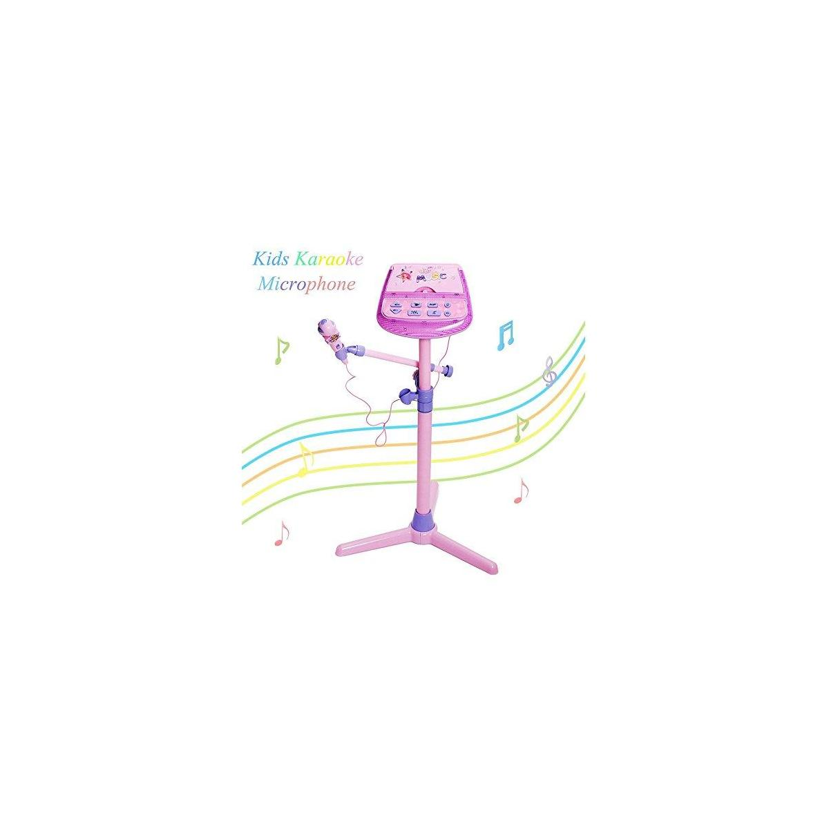 Happytime Kids Karaoke Microphone Musical Toys Adjustable Stand Karaoke Machine with Pink External Music Function & Flashing Lights for Kids