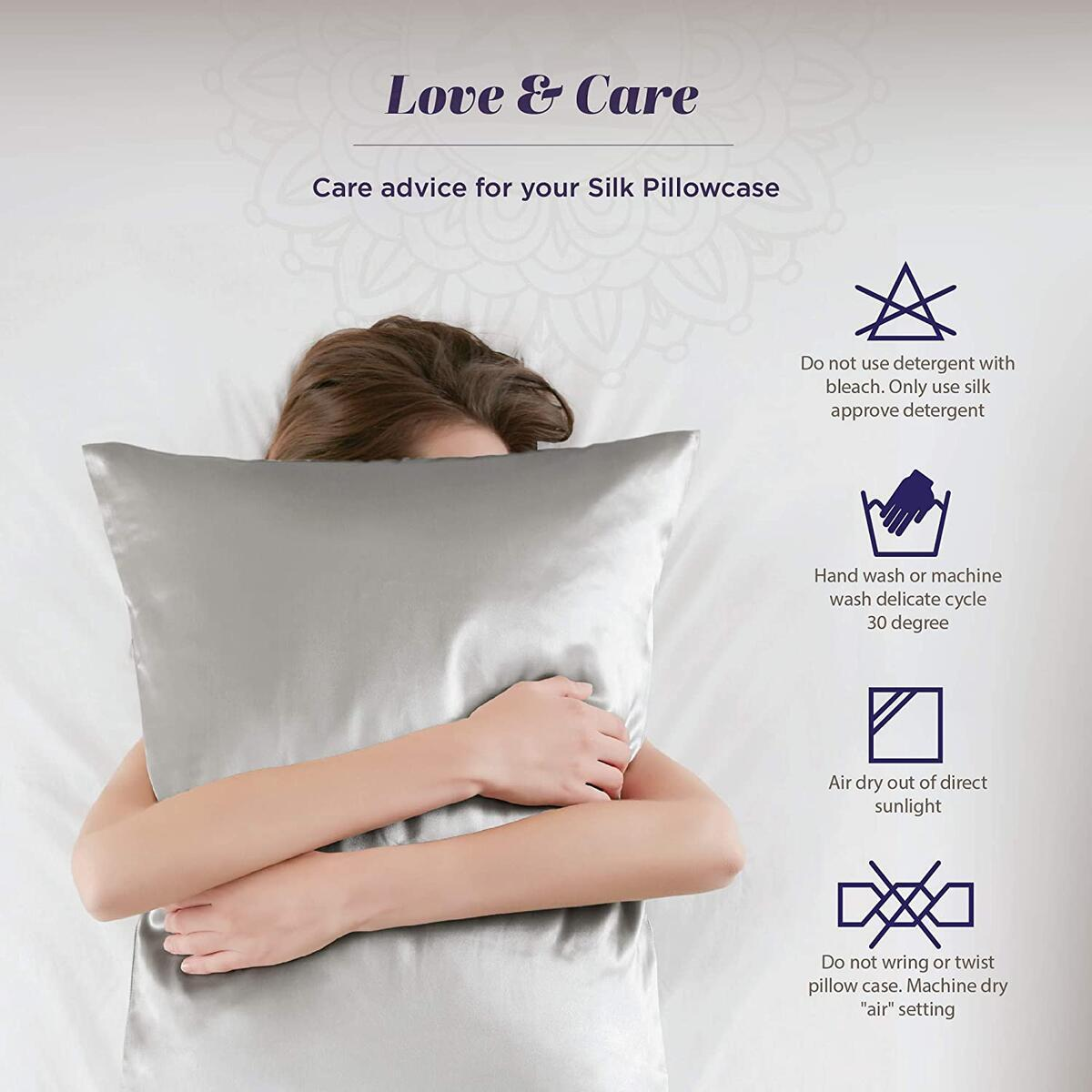 Hyde Lane 100% Mulberry Silk Pillowcase for Hair and Skin | Hypoallergenic Satin Pillowcase Cover Hidden Zippered - 1 Pack (King Size 20x36 Grey)