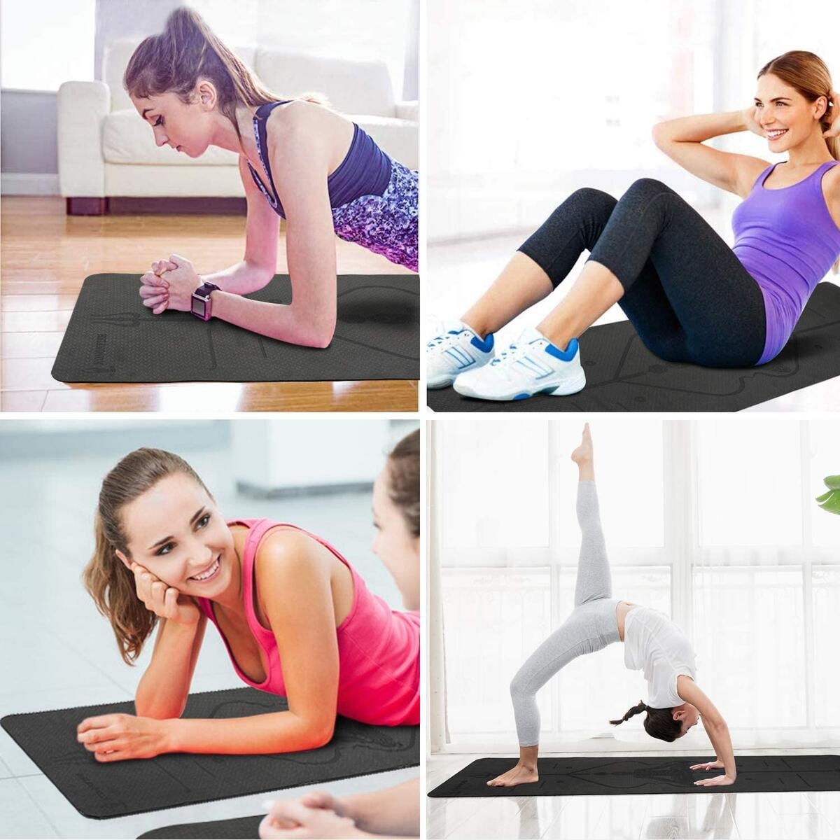 Non Toxic Eco Friendly Yoga Mat with Carrying Strap & alignment lines,yoga mats for women thick non slip,Workout Mats for Home, Pilates and Fitness Exercise.