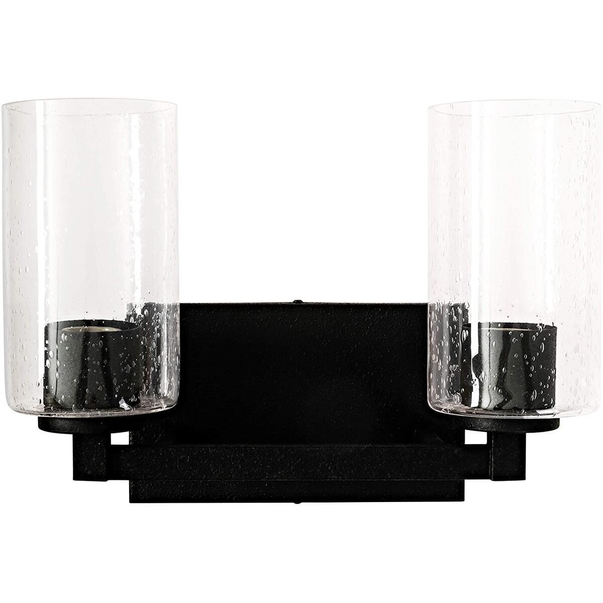 Classic 2 Light Vanity Wall Light, 120V,100W, E26 Bulb Base in Black Iron Finish with Clear Seeded Glass for Bathrooms, Hallways and Living Areas