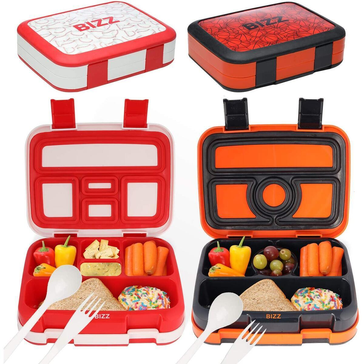 Bento Boxes - Baseball Basketball - Spoons Forks Included - 2pk
