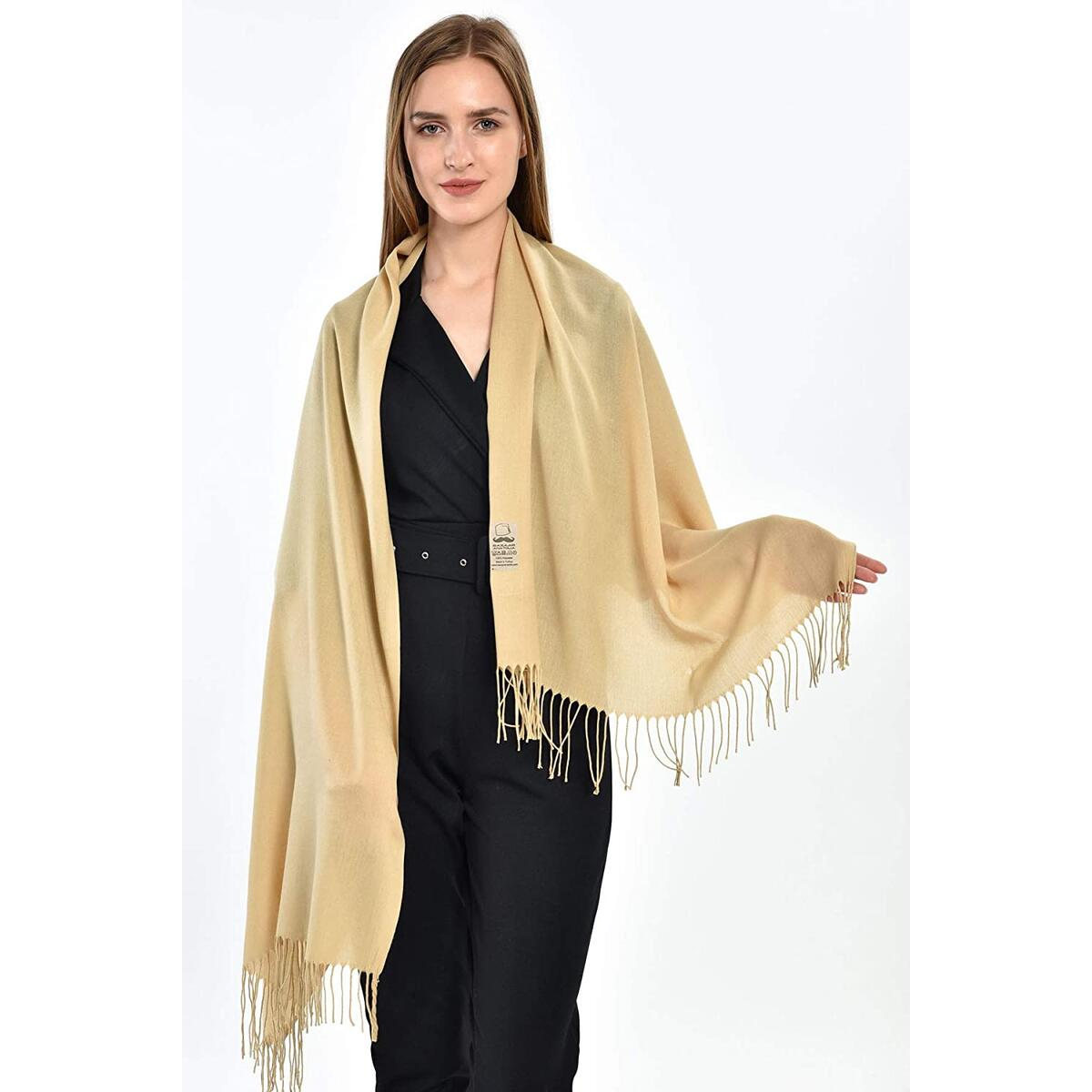 Pashmina Scarfs for Women Shawls and Wraps Soft Lightweight (Cream)