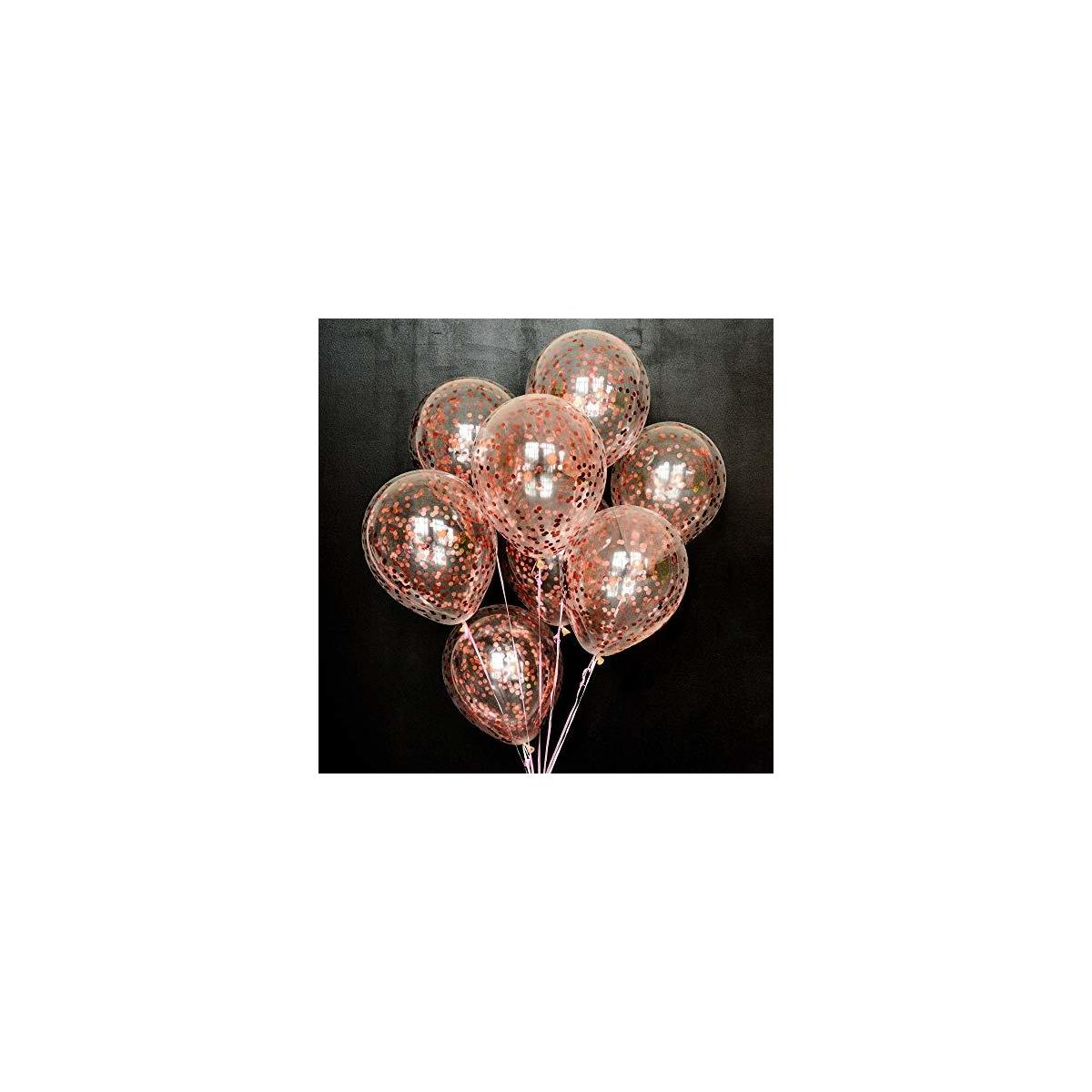 Dusico® Gold Confetti Balloons For Party Decorations, Rose Golden Paper Dots Inside Clear 12 Inches Latex Balloon, (20 Pack), For Helium Or Air. Wedding Supplies