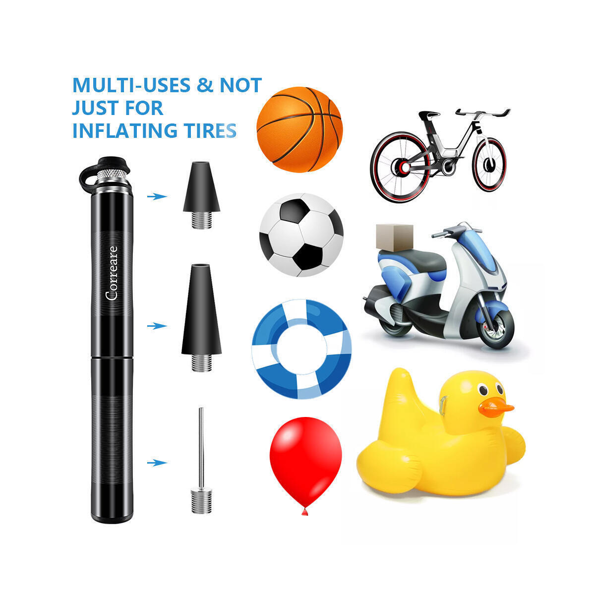 correare Mini Bike Pump with Portable Frame Fits Presta & Schrader,No Valve Changing Needed, 160PSI,Mini Bicycle Tire Pump for Road and Mountain Bikes