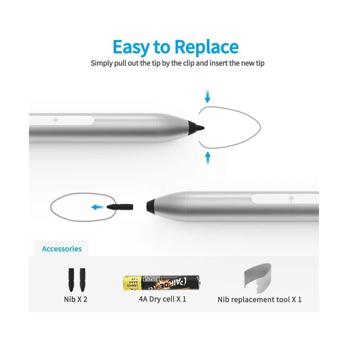 Stylus Pen Compatible with Sur-face with 1024 Levels Pressure Including AAAA Battery & Extra Tips