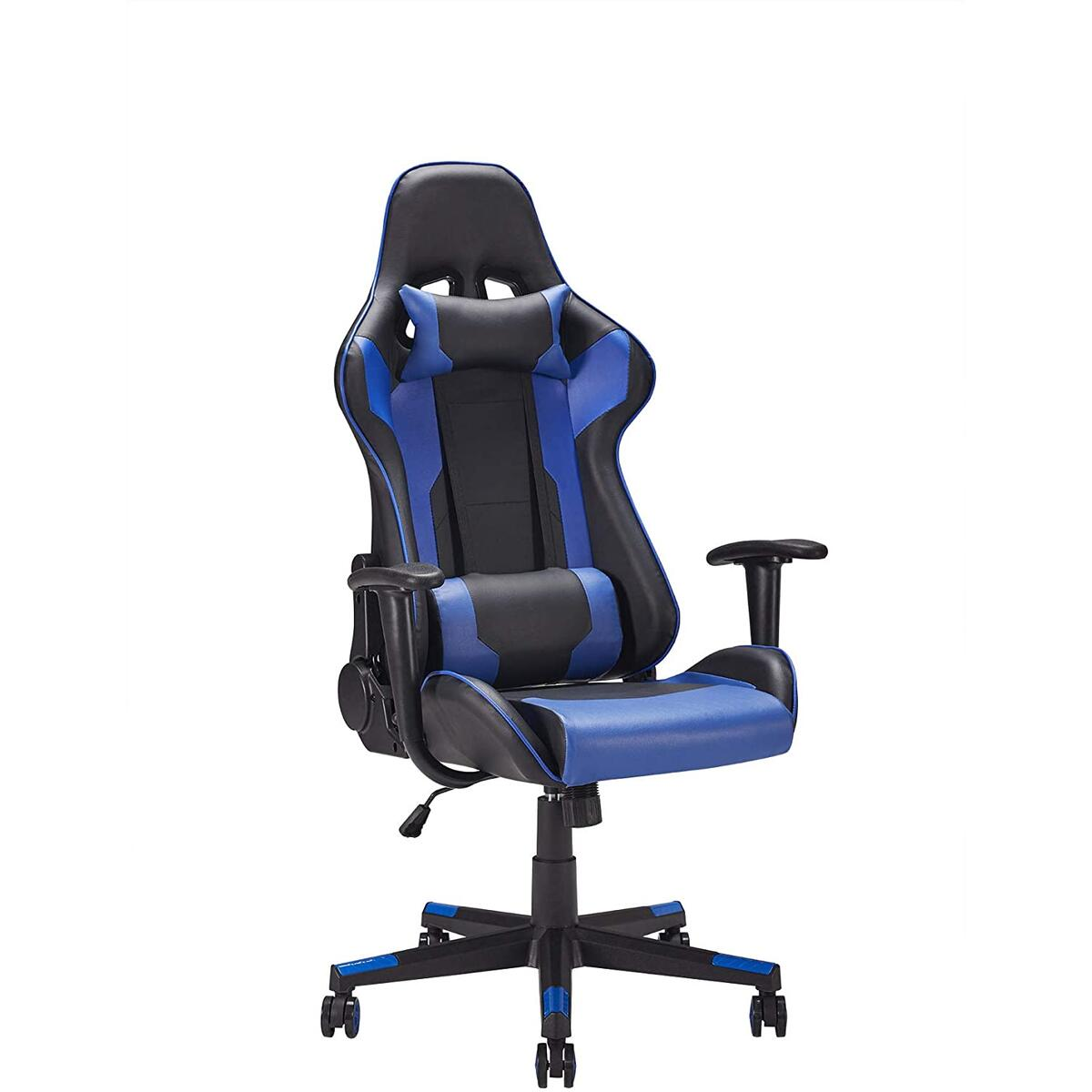 Ergonomic Design Racing Style Swivel Gaming Chair with Adjustable Height and Lumbar Support Black and Blue