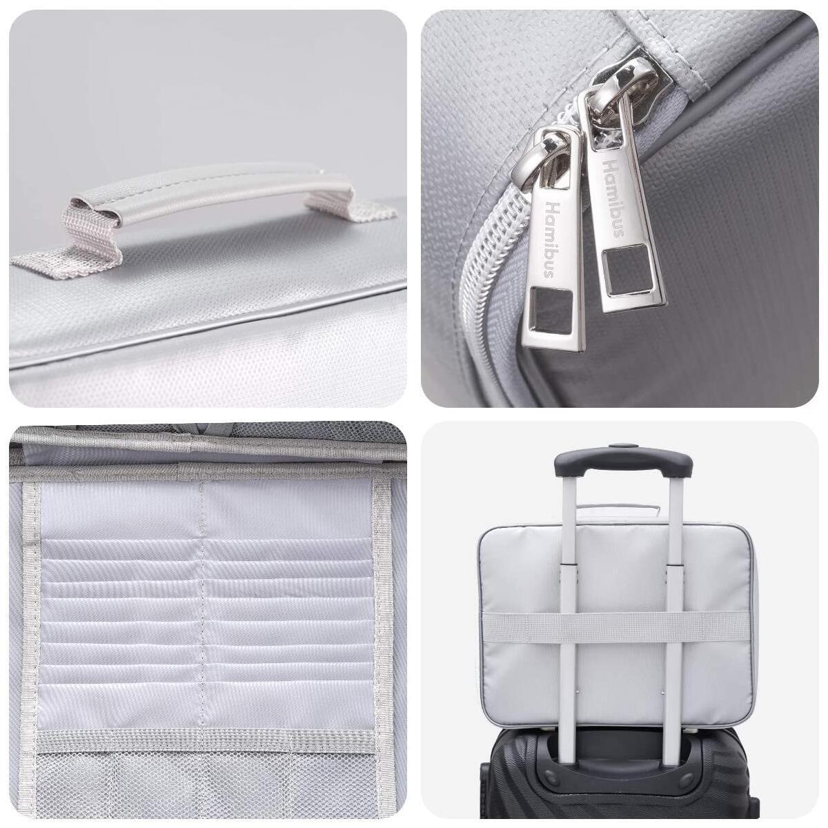 Fireproof Document Bag Storage Fire & Water Resistant Briefcase Zip Closure File Organizer Safe Accessories