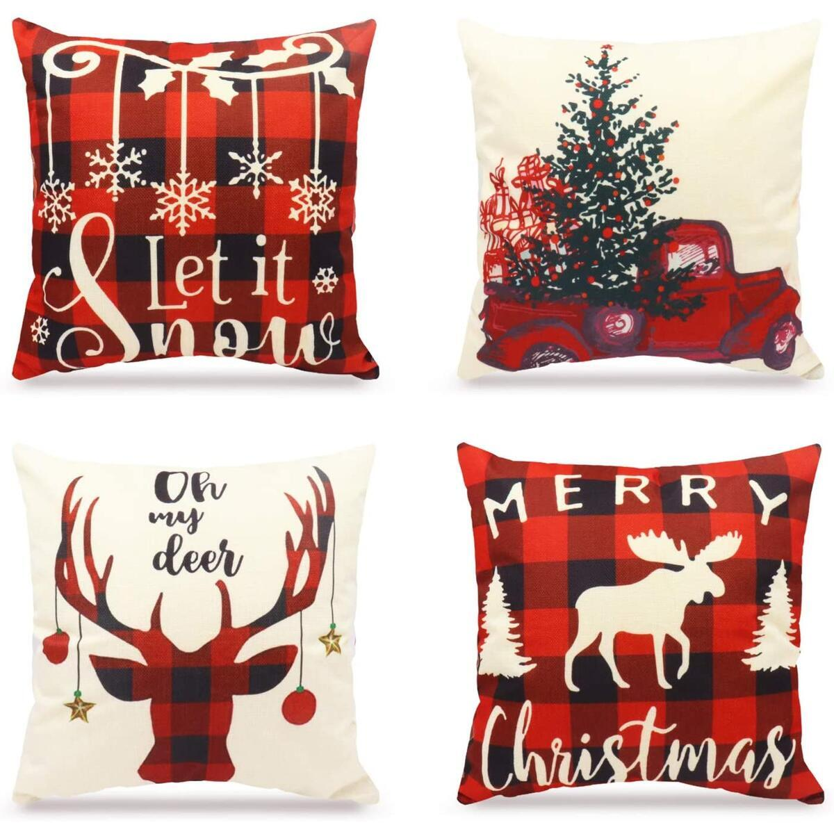 WEYON Christmas Throw Pillow Covers 4 Pack Buffalo Plaid Farmhose Deer Truck Merry Xmas Sofa Outdoor Decorative Cushion Cases 18 × 18 Inch, Sold by CHUDAO