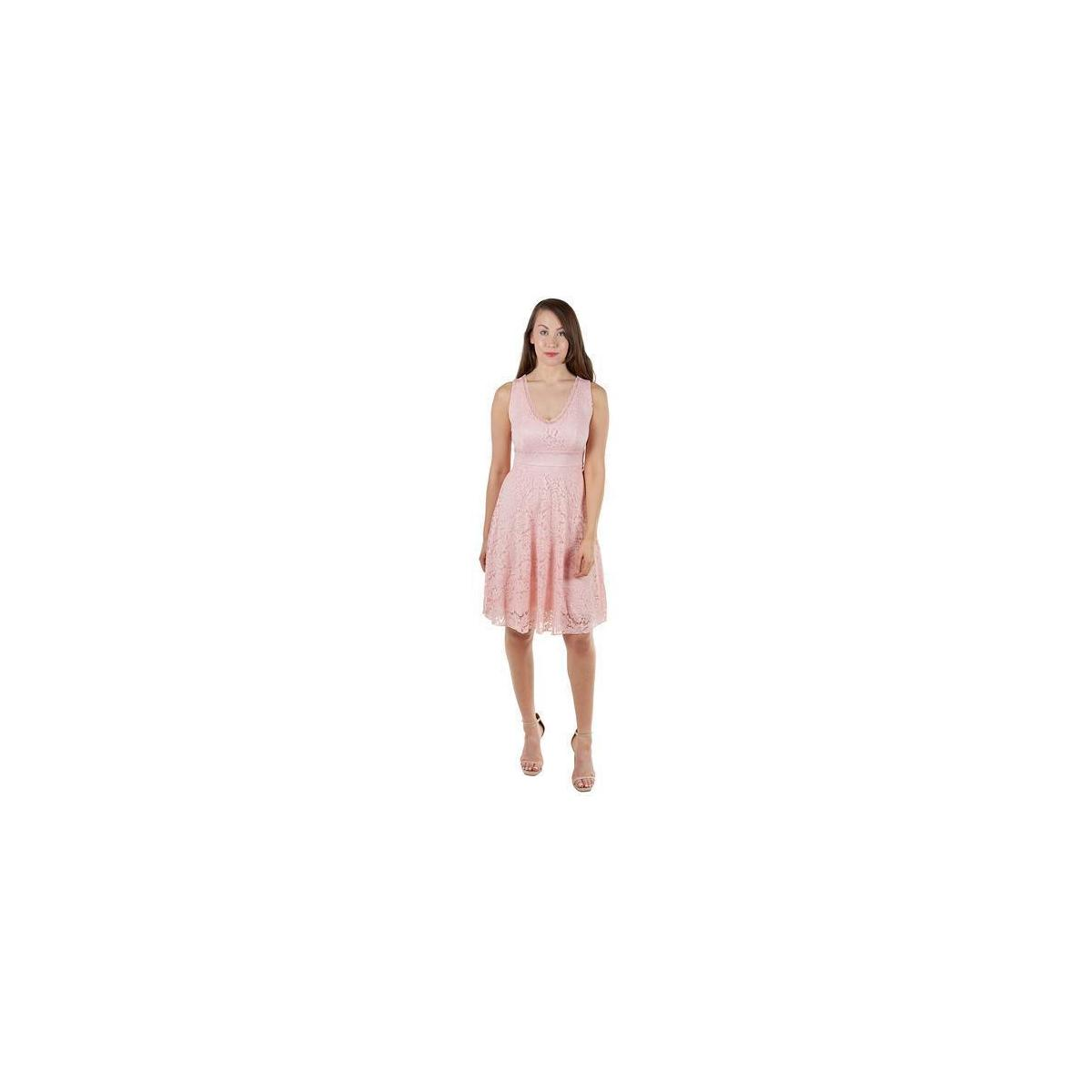 Made in Italy - Women's Elegant Floral Lace Cocktail Party Flowy Knee Length Dress (7 Colors available)
