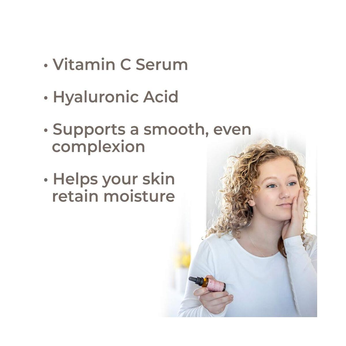 Plant Therapy Facial Serum with Vitamin C & Hyaluronic Acid 1 oz with 30% Hyaluronic Acid, Ferulic Acid, and Vitamin E, Reduces the Appearance of Fine Lines & Wrinkles
