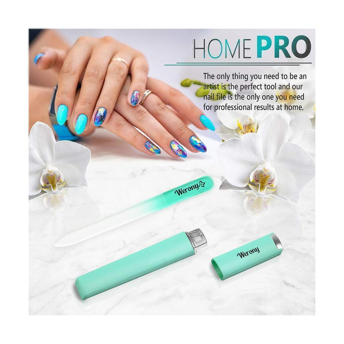 Nail File - Glass Nail File with Case - NEW COLOR - Premium Fingernail Files for Professional Manicure Nail Care - Crystal Nail File - Nail Files for Natural Nails