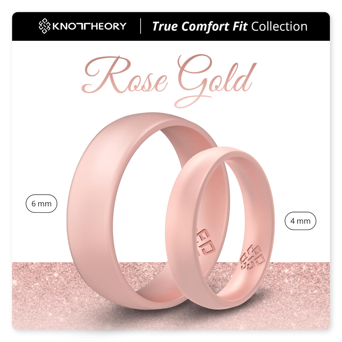 Knot Theory Breathable Rose Gold Silicone Ring Sizes 4 ~ 11