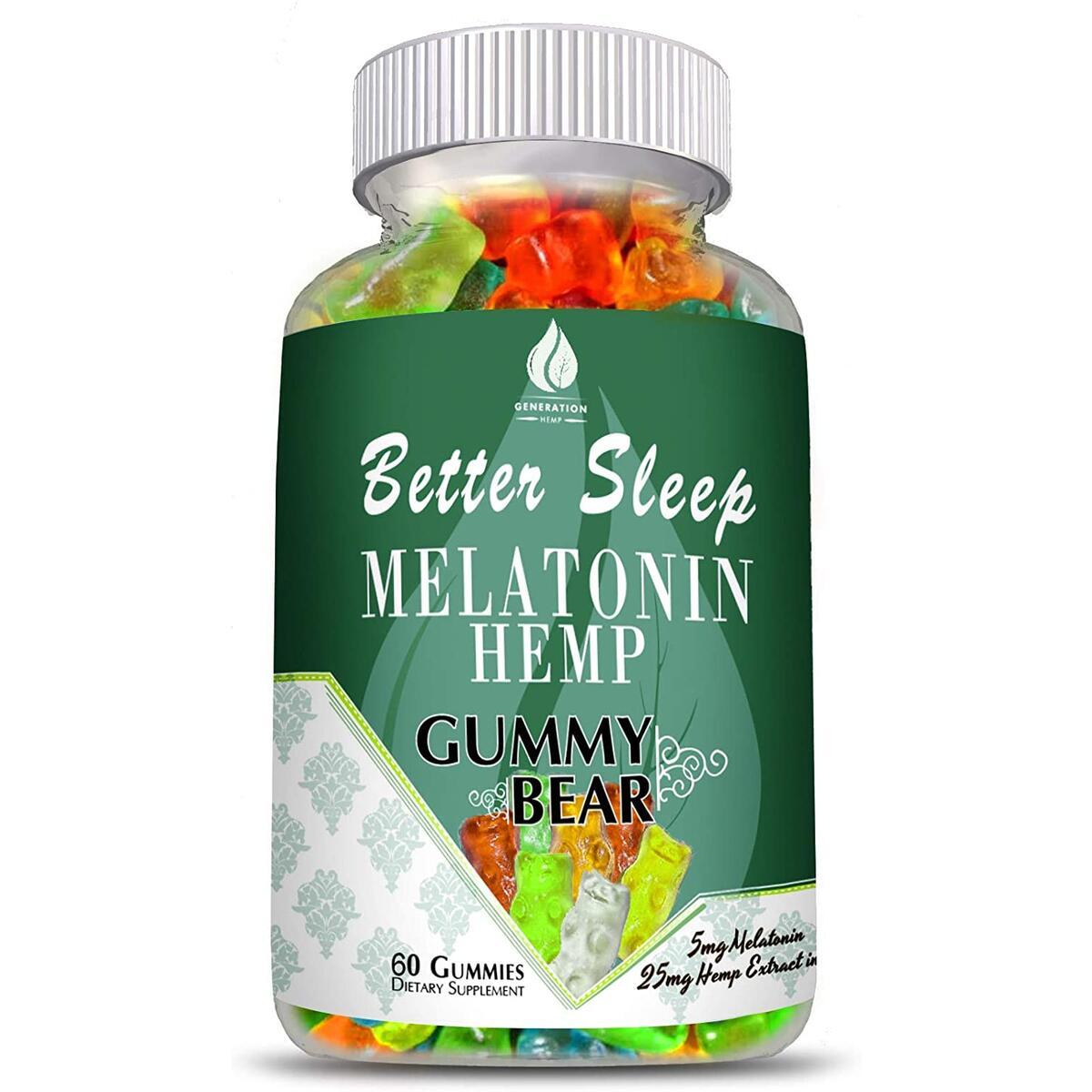 Melatonin Hemp Gummies for Sleep, Anxiety and Stress Relief. 5mg Melatonin + 750mg of 100% Pure Organic Hemp Extract in Every Gummy. #1 Natural Sleep Aid to Promote restful Sleep -60 Servings