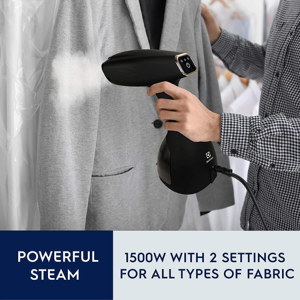 Electrolux Portable Handheld Garment and Fabric Steamer 1500 Watts, Rapid Heating Ceramic Sole Plate Steam Nozzle, 2 in 1 Fabric Wrinkle Remover and Clothing Iron, with Fabric Brush and Lint Brush