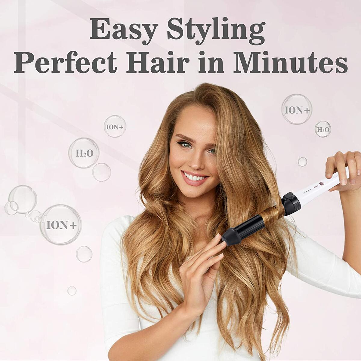 FINYOU 3 in 1 Curling Wand, Ceramic Tourmaline Hair Curling Iron, Heat Up Quickly Adjustable Temperature Crimper Hair Iron, Professional Hair Waver Hair Curler for All Hairstyles(White & Black)