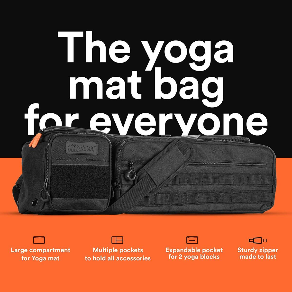 Fitdom Large Tactical Inspired Yoga Mat Carry Bag with Multiple Pockets. Easy Access & Organizing Gym Gears. Fits Thick & Thin Mat Sizes. Expandable Compartment Can Store Up to 2 Yoga Blocks.