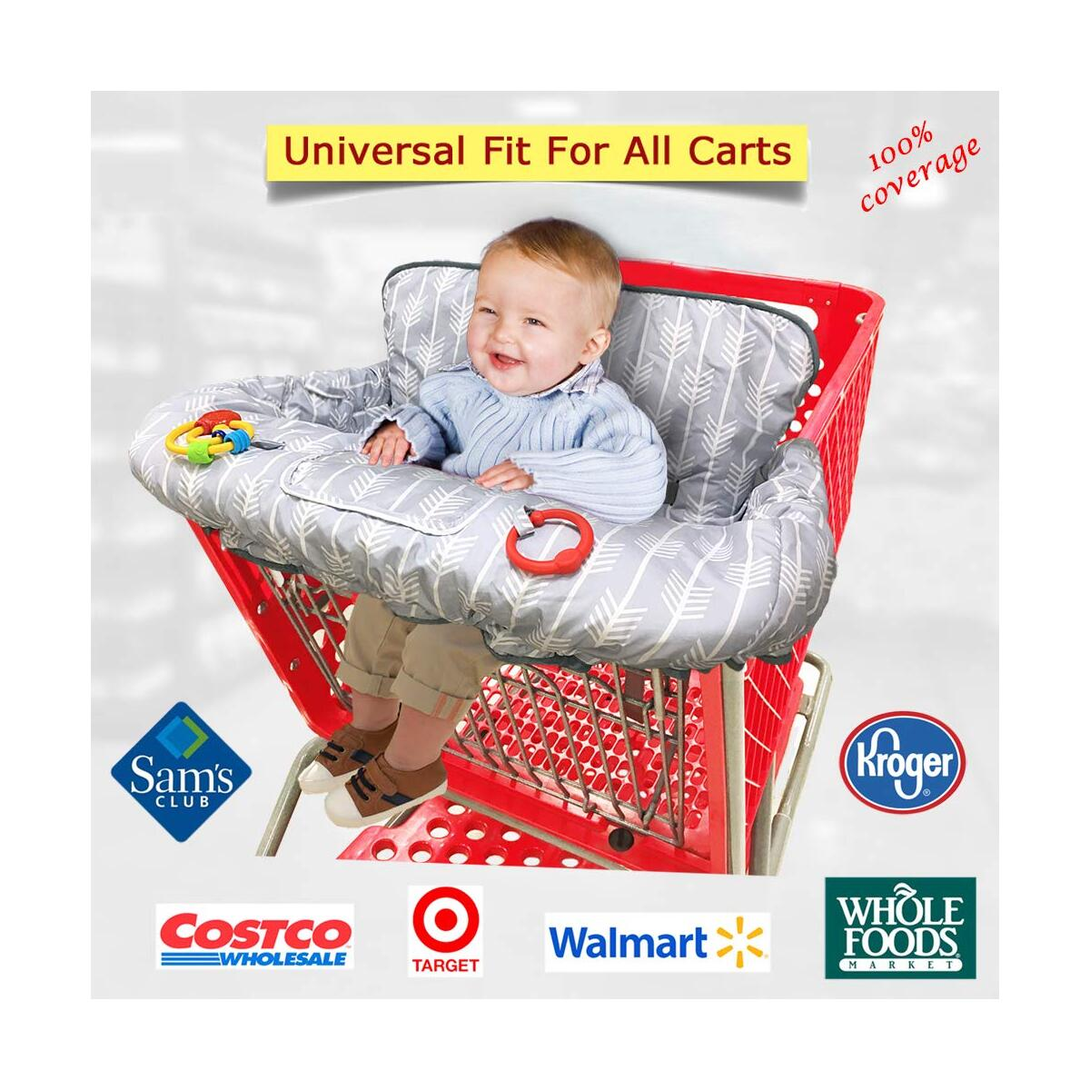 Arrow-grocery cart cover for baby