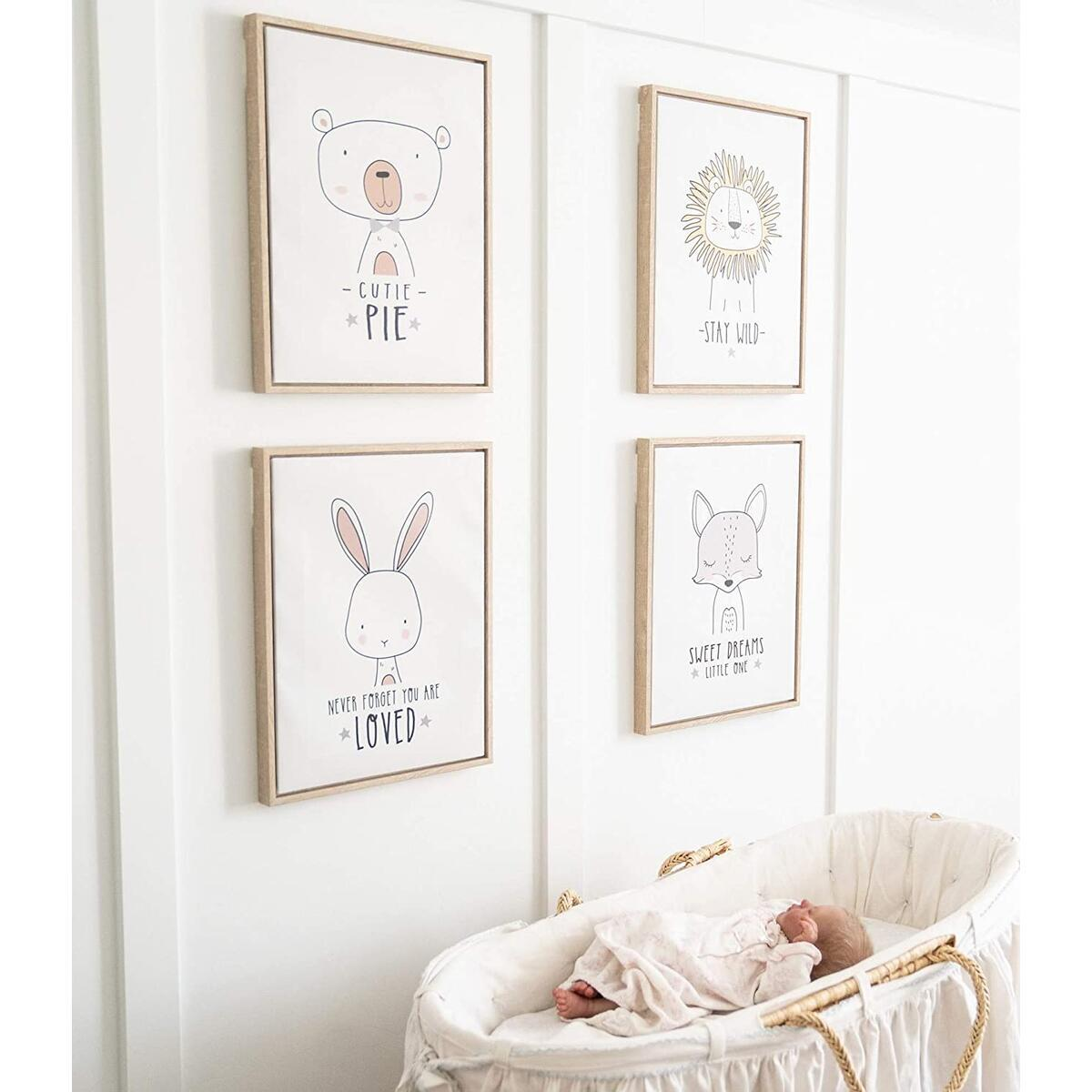 Maison Mia Framed Canvas Cute Sweet Animals Wall Art Décor Set of 4 (12 x 16 in) for Baby Toddler Nursery Girl Boy Neutral Kids Childrens Bedroom Playroom