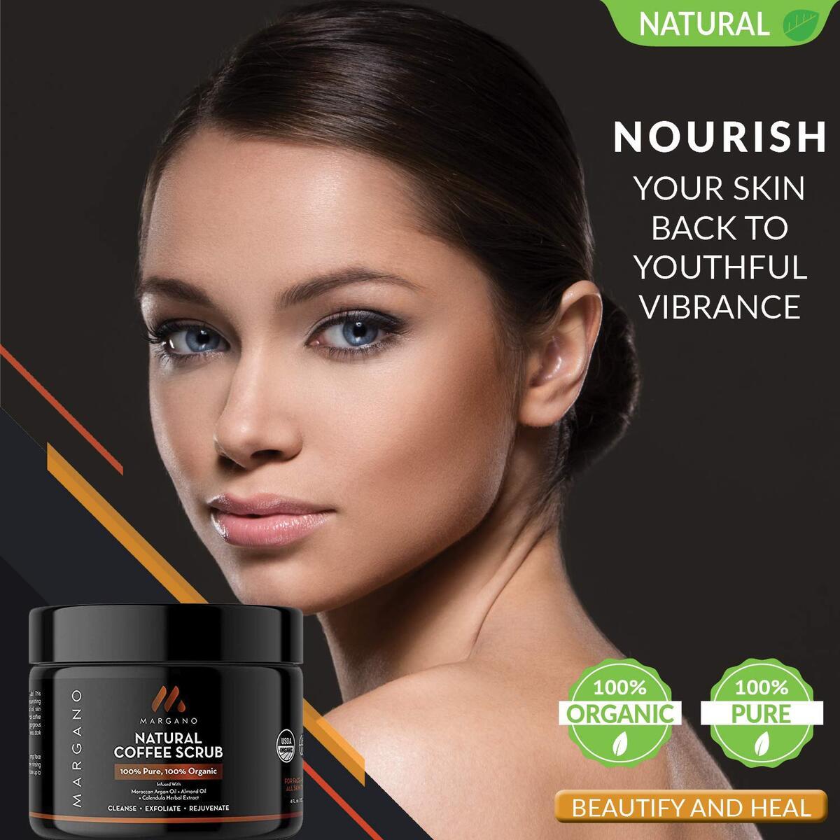 100% Natural Coffee Scrub : Face & Body w/Moroccan Argan Oil +Calendula Extract+ Almond Oil by Margano