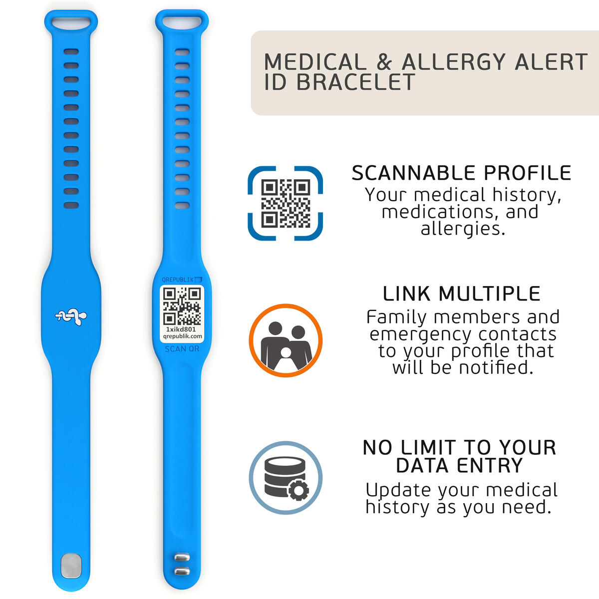 Silicone Medical Allergy Alert ID Bracelet