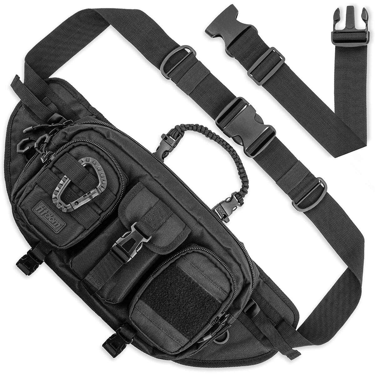 Fitdom Large Tactical Sling Bag for Men. Made from Heavy Duty Techwear Fabric & Built Tough for Outdoor. Also Use As EDC Backpack, Fanny Waist Pack, Crossbody, Shoulder or Chest Bag for Travel Cycling