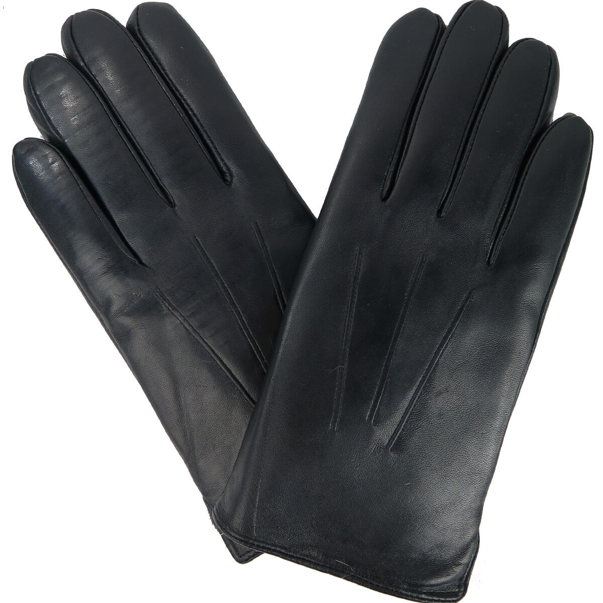 Debra Weitzner Leather Gloves for Men Fur Lined Warm Winter Gloves Touchscreen Black size large