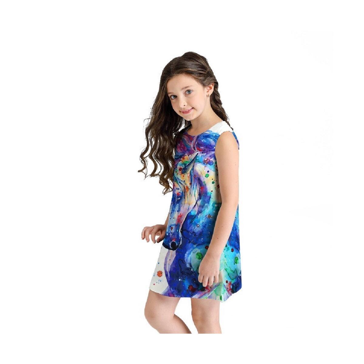 Summer Unicorn Dress for 6 7 8 9 10 11 12 Years Old Girls Sleeveless Dress(medium)