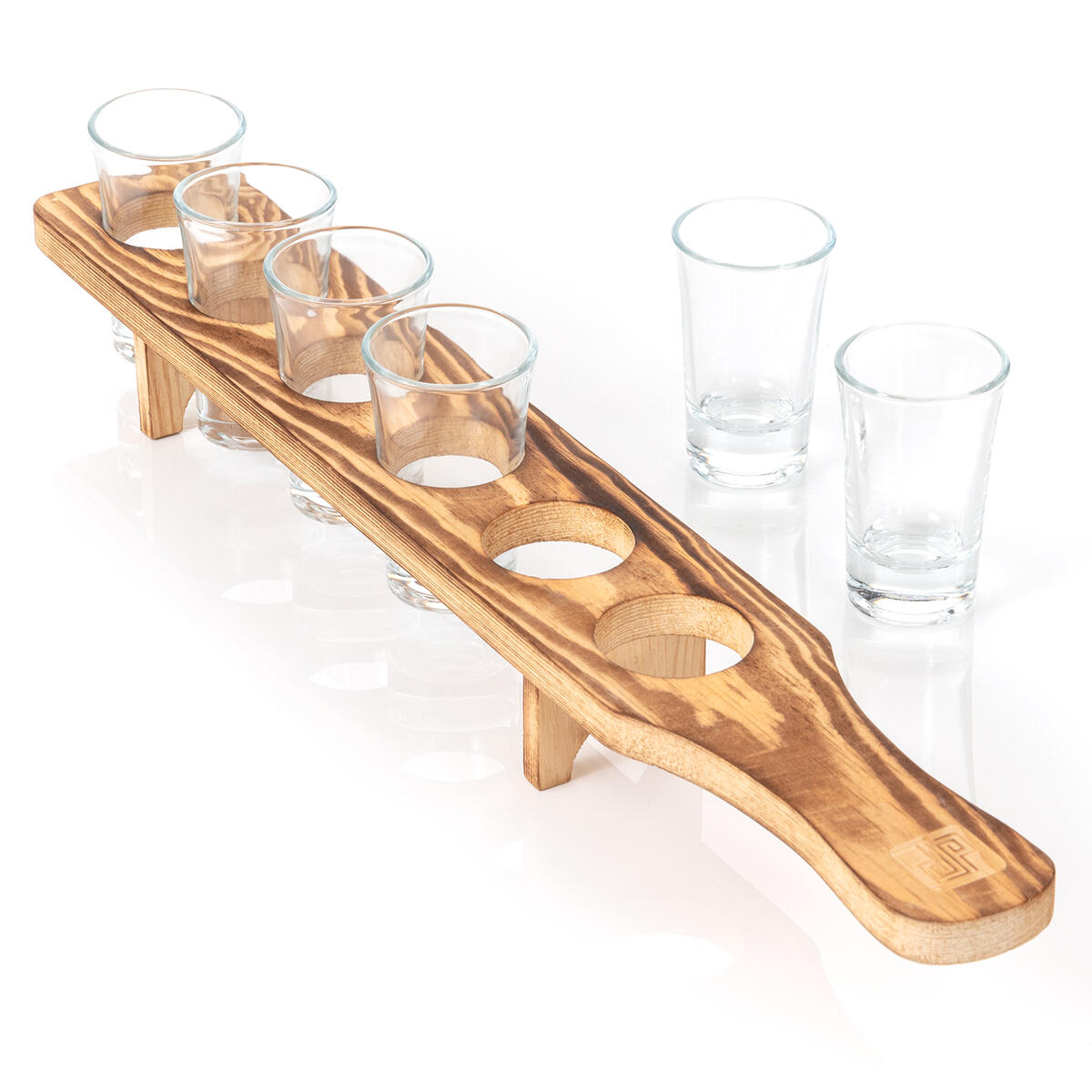 Don Paragone Shot Glasses Serving Tray and Shot Glass Set of 6 - Unique Rustic Wooden Holder for Drinking, Serving, Display and Storage - For Restaurant, Bar, Party, Family Gathering - Rustic Burnt