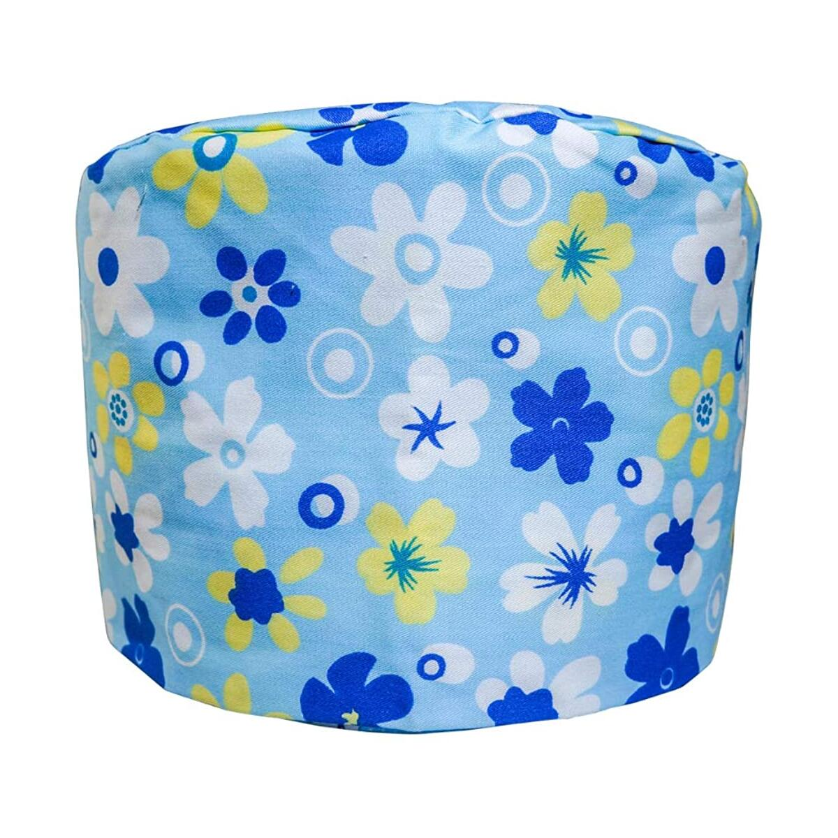 Working Cap with Button and Sweatband Adjustable Tie Back Bouffant Hats (Color 5 - Flowers)