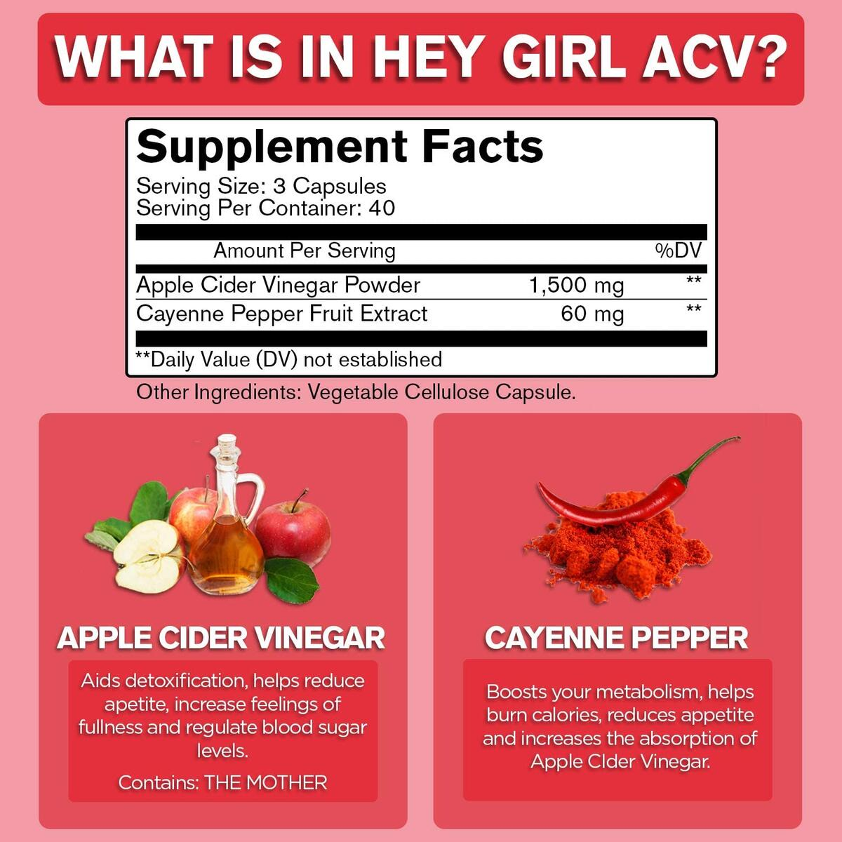 Apple Cider Vinegar Capsules - Great for Detox, Cleanse + Natural Weight Loss   Reduces Bloating and Aids Digestion to Keep Your Gut Happy by Hey Girl Nutrition
