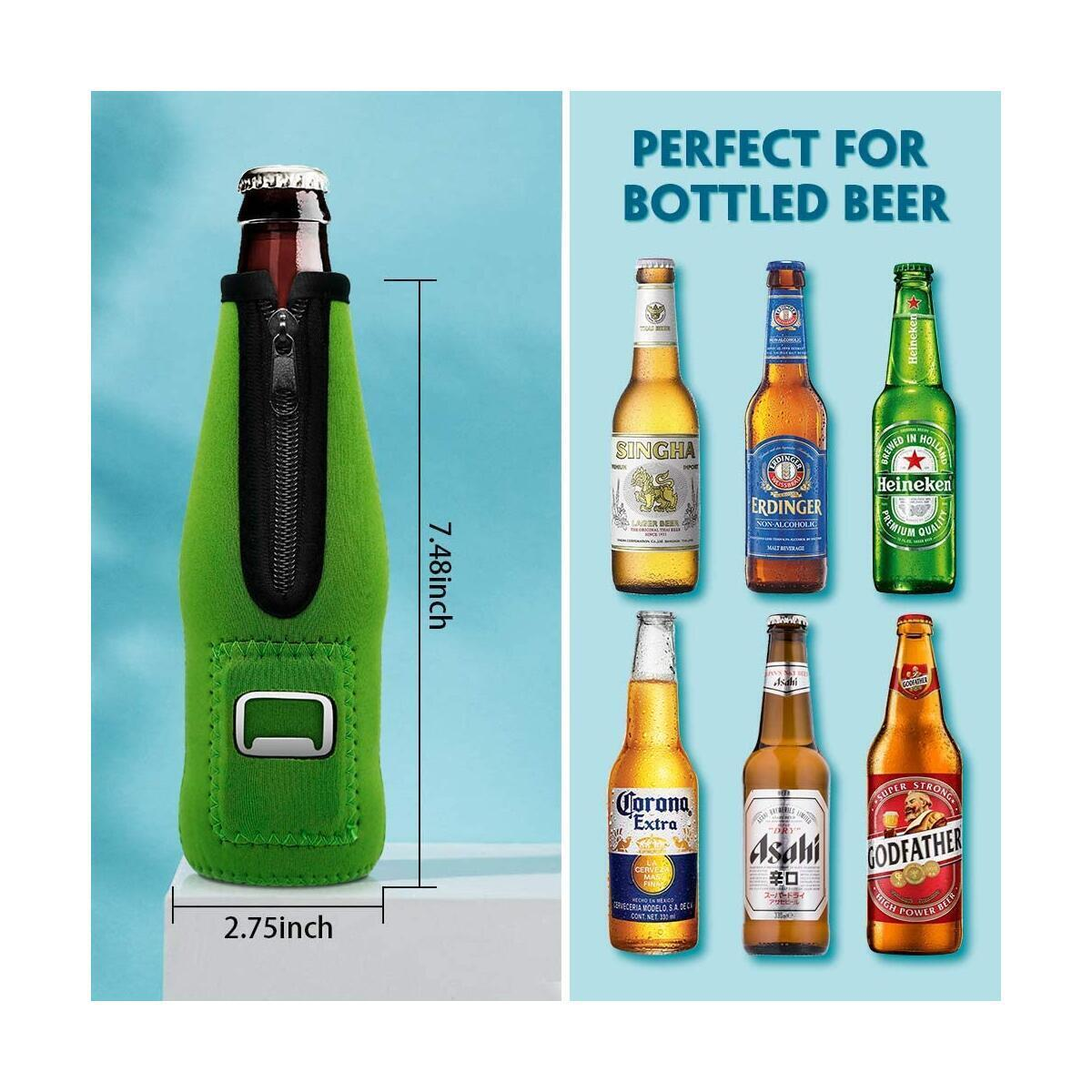 Aymaloy Bottle Keeper for Beer (Pack of 4), Beer Bottle Coozies With Zipper Insulated Beer Bottle Holders to Keep Cold Beer Cooler Neoprene Bottle Coozie
