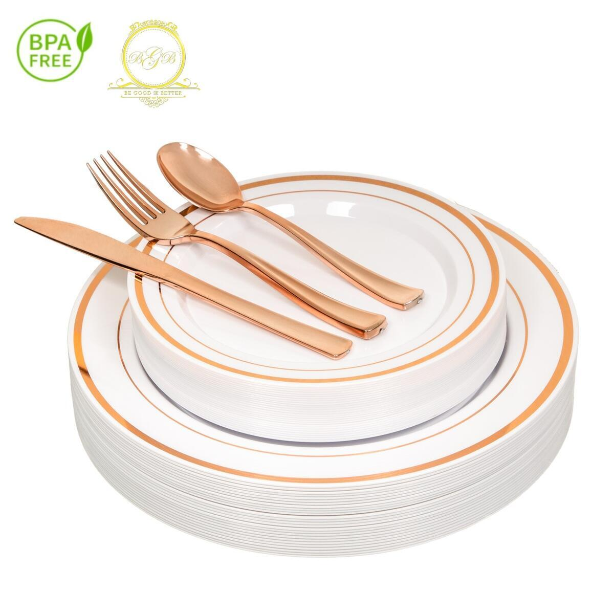 *On SALE* ROSE GOLD Plastic Disposable Plates Silverware 26 guests 130 Pcs (eBay)