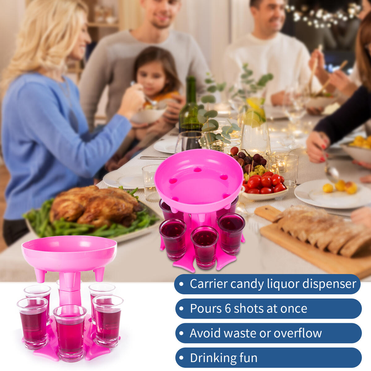 6 Ways Shot Glass Dispenser with 6 Acrylic Cups,Glasses Hanging Holder Stand Rack,Carrier Caddy Dispenser with 6 Acrylic Cups for Cocktail Party Carrier Liquor Dispenser Gifts Drinking Tool (pink)
