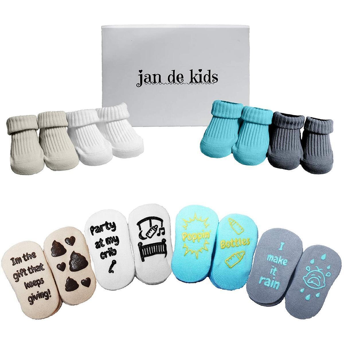 4-Pair Baby Socks Gift Set for Newborns and Infants (0-6 months)