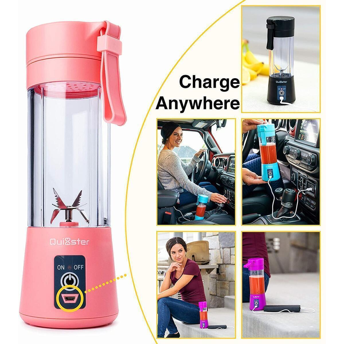 Quixster Portable Blender for Shakes and Smoothies. Personal Size Blender for Shakes and Smoothies with Mini Juice Blender. USB Rechargeable Travel Juicer including 50 Smoothie Recipes (Green)