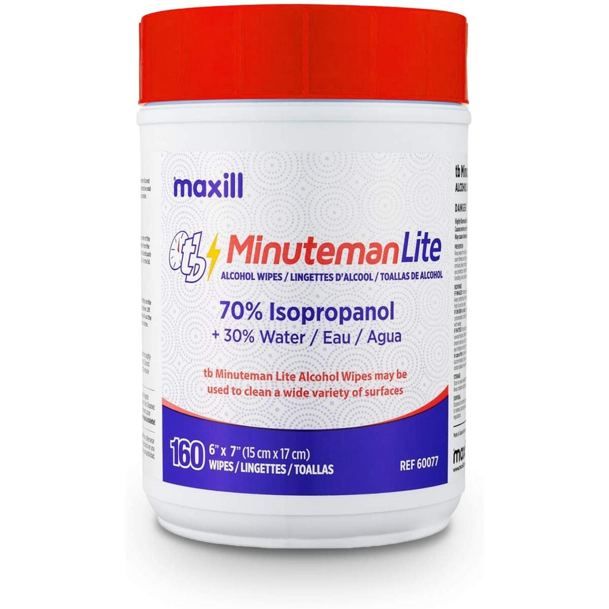 Maxill TB Minuteman Lite 70% Isopropyl Alcohol Wipes - Multi-Surface Use - Sanitizing & Antibacterial Hand Wipes - 160 ct …