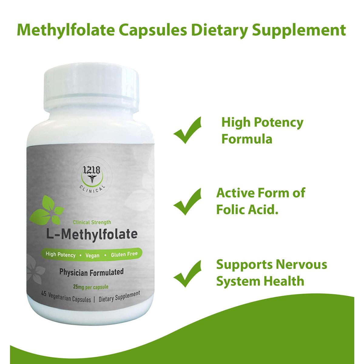 1218 L-Methylfolate Capsules Dietary Supplement - Organic High Potency Vitamin B Folate for Balanced Mood, Mental Alertness & Sleep - Boost Energy & Support Immune Health - 45 Pure Vegetarian Caps
