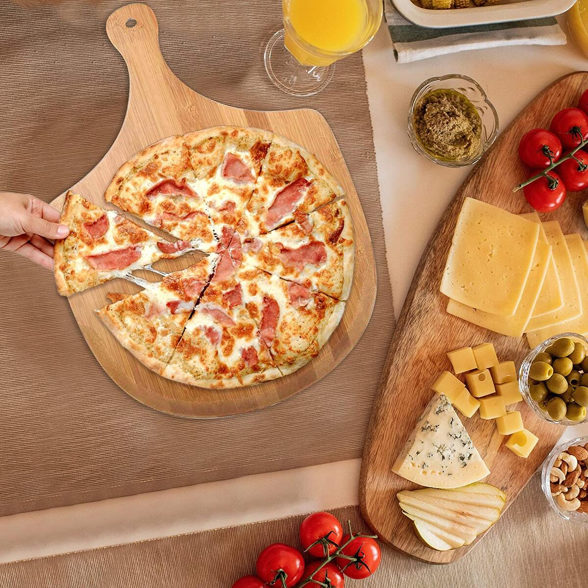"""Wooden Pizza Peel 12 Inch by 17 Inch, Natural Bamboo Pizza Cutting Board With Handle, 12"""" x 17"""" For Baking Pizza, Bread Peel, Cutting Fruit, Vegetables, Cheese."""