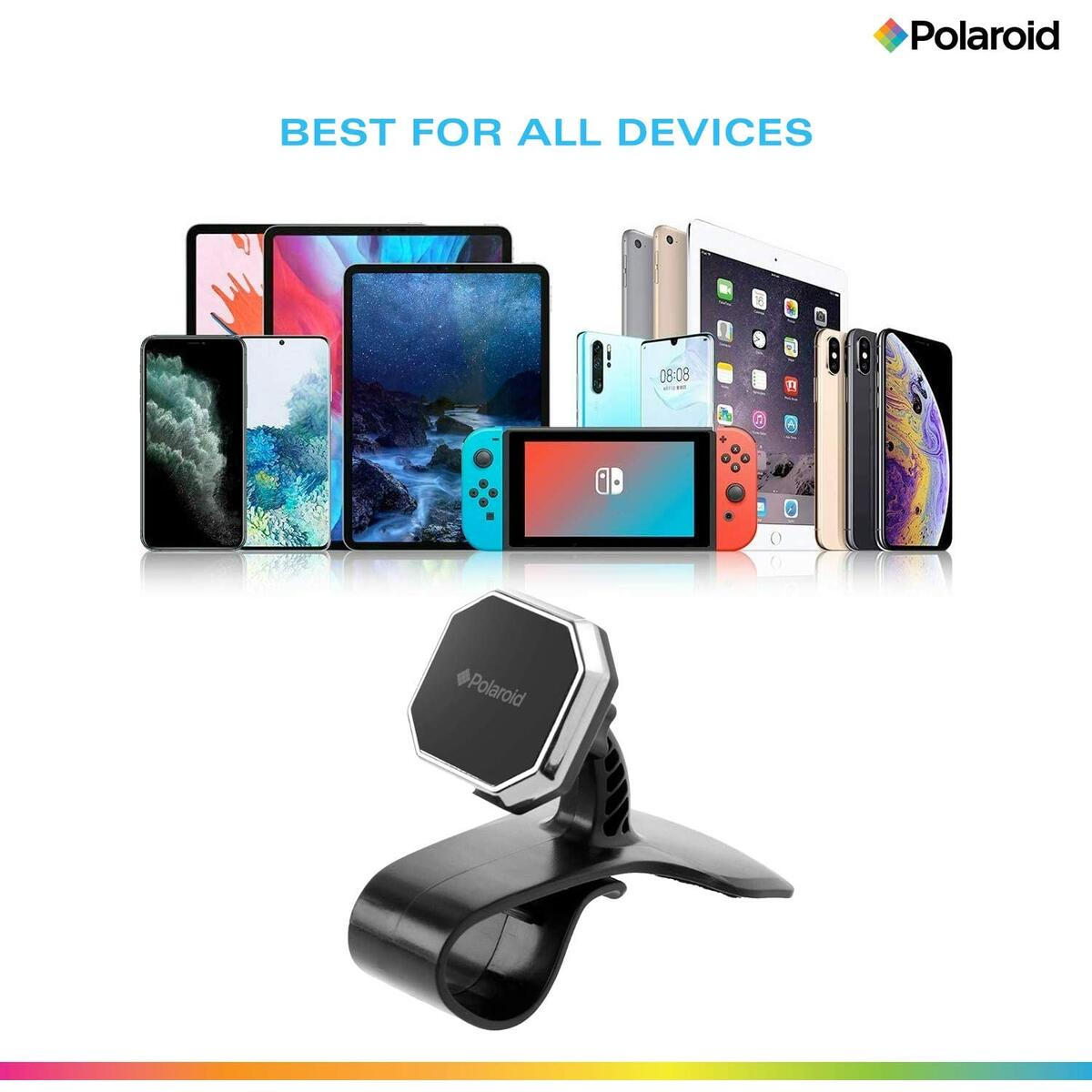 Polaroid Car Dashboard Cell Phone Holder – Universal Magnetic Mount to Hold Any Smartphone